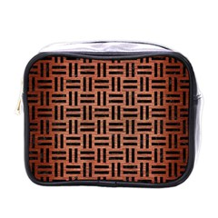 Woven1 Black Marble & Copper Brushed Metal (r) Mini Toiletries Bag (one Side) by trendistuff
