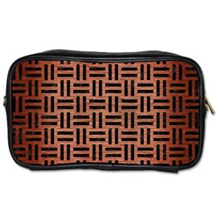 Woven1 Black Marble & Copper Brushed Metal (r) Toiletries Bag (one Side) by trendistuff