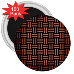 Woven1 Black Marble & Copper Brushed Metal 3  Magnet (100 Pack) by trendistuff