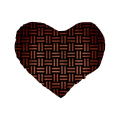 Woven1 Black Marble & Copper Brushed Metal Standard 16  Premium Flano Heart Shape Cushion  by trendistuff