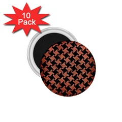 Houndstooth2 Black Marble & Copper Brushed Metal 1 75  Magnet (10 Pack)  by trendistuff