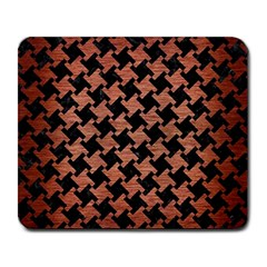 Houndstooth2 Black Marble & Copper Brushed Metal Large Mousepad by trendistuff