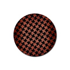 Houndstooth2 Black Marble & Copper Brushed Metal Rubber Round Coaster (4 Pack) by trendistuff