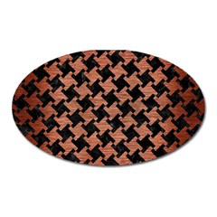 Houndstooth2 Black Marble & Copper Brushed Metal Magnet (oval) by trendistuff