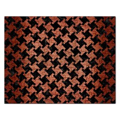 Houndstooth2 Black Marble & Copper Brushed Metal Jigsaw Puzzle (rectangular) by trendistuff