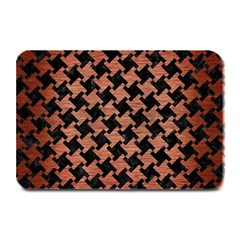 Houndstooth2 Black Marble & Copper Brushed Metal Plate Mat by trendistuff