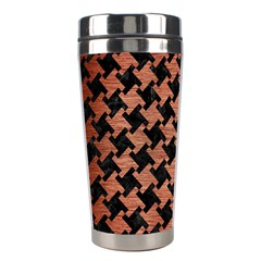 Houndstooth2 Black Marble & Copper Brushed Metal Stainless Steel Travel Tumbler by trendistuff