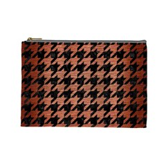 Houndstooth1 Black Marble & Copper Brushed Metal Cosmetic Bag (large) by trendistuff