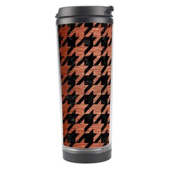 Houndstooth1 Black Marble & Copper Brushed Metal Travel Tumbler by trendistuff