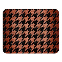 Houndstooth1 Black Marble & Copper Brushed Metal Double Sided Flano Blanket (large) by trendistuff