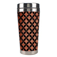 Circles3 Black Marble & Copper Brushed Metal (r) Stainless Steel Travel Tumbler by trendistuff