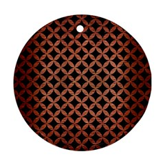 Circles3 Black Marble & Copper Brushed Metal Round Ornament (two Sides)