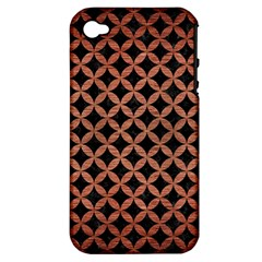 Circles3 Black Marble & Copper Brushed Metal Apple Iphone 4/4s Hardshell Case (pc+silicone) by trendistuff