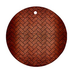 Brick2 Black Marble & Copper Brushed Metal (r) Round Ornament (two Sides) by trendistuff