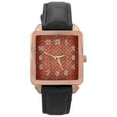 Brick2 Black Marble & Copper Brushed Metal (r) Rose Gold Leather Watch  by trendistuff