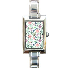 Hand Painted Spring Flourishes Flowers Pattern Rectangle Italian Charm Watch by TastefulDesigns