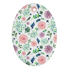 Hand Painted Spring Flourishes Flowers Pattern Ornament (oval)