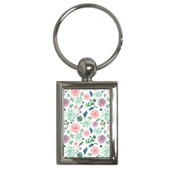 Hand Painted Spring Flourishes Flowers Pattern Key Chains (rectangle)  by TastefulDesigns