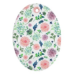Hand Painted Spring Flourishes Flowers Pattern Oval Ornament (two Sides)