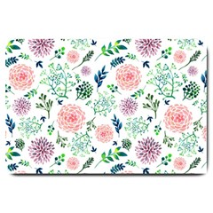 Hand Painted Spring Flourishes Flowers Pattern Large Doormat
