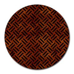 Woven2 Black Marble & Brown Burl Wood (r) Round Mousepad by trendistuff