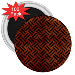 Woven2 Black Marble & Brown Burl Wood (r) 3  Magnet (100 Pack) by trendistuff