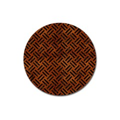 Woven2 Black Marble & Brown Burl Wood (r) Magnet 3  (round) by trendistuff