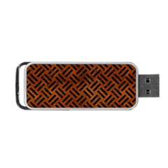 Woven2 Black Marble & Brown Burl Wood (r) Portable Usb Flash (two Sides) by trendistuff
