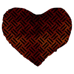 Woven2 Black Marble & Brown Burl Wood (r) Large 19  Premium Heart Shape Cushion by trendistuff