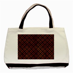 Woven2 Black Marble & Brown Burl Wood Basic Tote Bag (two Sides) by trendistuff