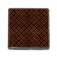 Woven2 Black Marble & Brown Burl Wood Memory Card Reader (square) by trendistuff