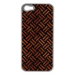 Woven2 Black Marble & Brown Burl Wood Apple Iphone 5 Case (silver) by trendistuff