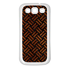 Woven2 Black Marble & Brown Burl Wood Samsung Galaxy S3 Back Case (white) by trendistuff