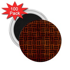 Woven1 Black Marble & Brown Burl Wood (r) 2 25  Magnet (100 Pack)  by trendistuff