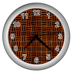 Woven1 Black Marble & Brown Burl Wood (r) Wall Clock (silver) by trendistuff