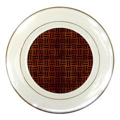 Woven1 Black Marble & Brown Burl Wood (r) Porcelain Plate by trendistuff