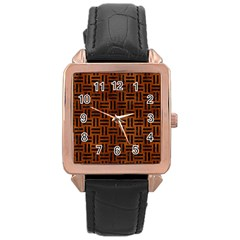 Woven1 Black Marble & Brown Burl Wood (r) Rose Gold Leather Watch  by trendistuff
