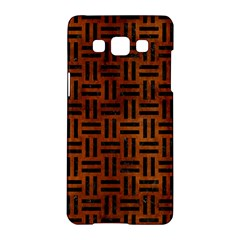 Woven1 Black Marble & Brown Burl Wood (r) Samsung Galaxy A5 Hardshell Case  by trendistuff
