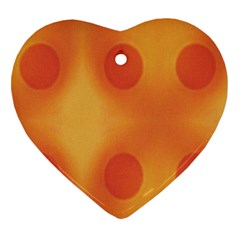 Sunny Happy Orange Dots Heart Ornament (2 Sides) by yoursparklingshop