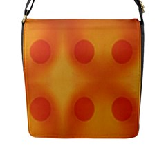 Sunny Happy Orange Dots Flap Messenger Bag (l)  by yoursparklingshop
