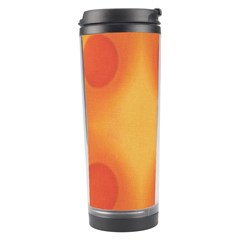 Sunny Happy Orange Dots Travel Tumbler by yoursparklingshop