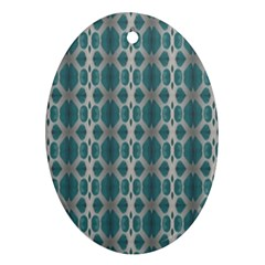 Tropical Blue Abstract Ocean Drops Ornament (oval)  by yoursparklingshop