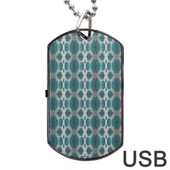 Tropical Blue Abstract Ocean Drops Dog Tag Usb Flash (one Side)