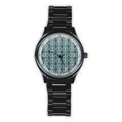 Tropical Blue Abstract Ocean Drops Stainless Steel Round Watch by yoursparklingshop