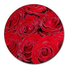 Red Roses Love Round Mousepads by yoursparklingshop