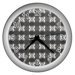 Black White Gray Crosses Wall Clocks (silver)  by yoursparklingshop