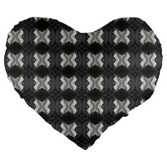 Black White Gray Crosses Large 19  Premium Heart Shape Cushions by yoursparklingshop
