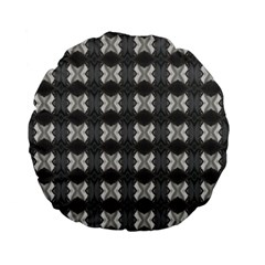 Black White Gray Crosses Standard 15  Premium Flano Round Cushions by yoursparklingshop