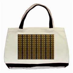 Black Brown Gold Stripes Basic Tote Bag