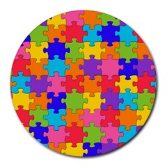 Funny Colorful Jigsaw Puzzle Round Mousepads by yoursparklingshop
